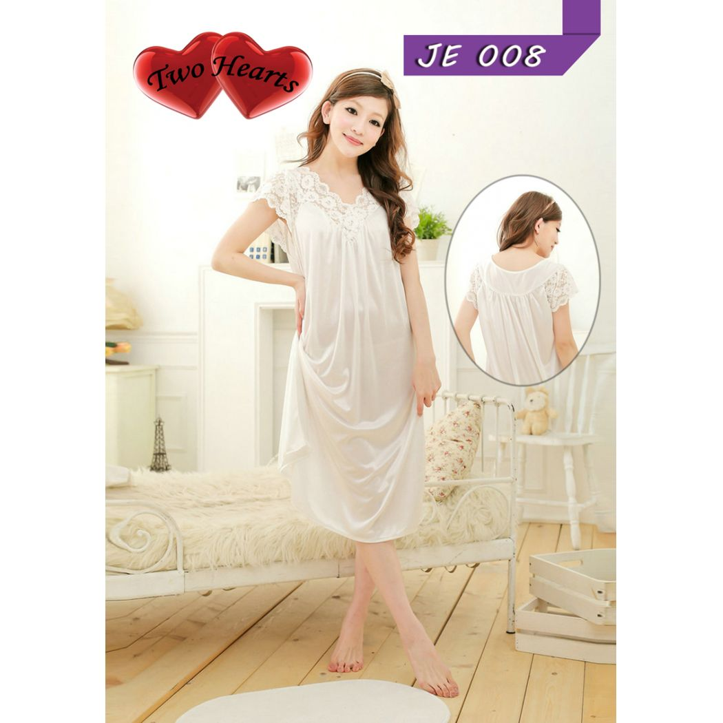 Taheras Satin Lace Sleepwear Gown for Nigthwear Wo